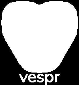 Vespr logo in white color